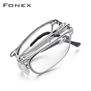 FONEX High Quality Folding Reading Glasses Men Women Foldable Presbyopia Reader Hyperopia Diopter Eyeglasses Screwless LH012