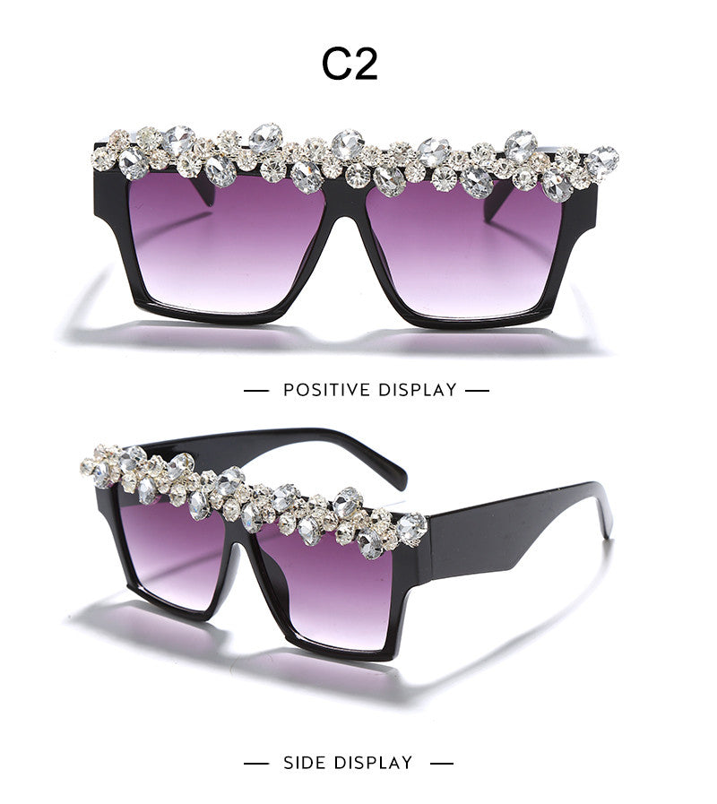 Women's Sunglasses Oversized Square Diamond Rhinestone One Piece Punk GVB805552 Ships From The USA