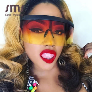 Women's Sunglasses Oversized Steampunk Vintage One Piece Gradient Colorful Goggle Retro Punk Ships From The USA