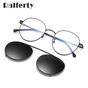 Ralferty Vintage Round Glasses Prescription Clip On Sunglasses Driving Optical Spectacle Frame Circle Metal Z17204