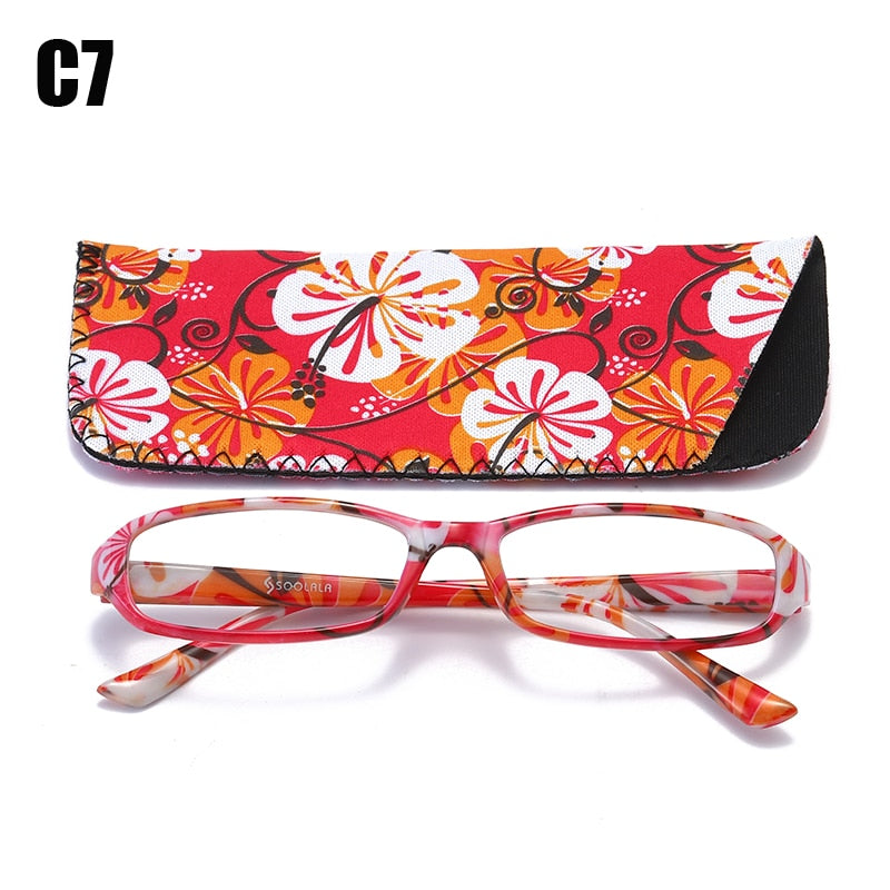 Soolala Brand Unisex Printed Reading Glasses Spring Hinge Rectangular Presbyopic W/ Matching Pouch +1.0 1.5 1.75 2.25 To 4.0
