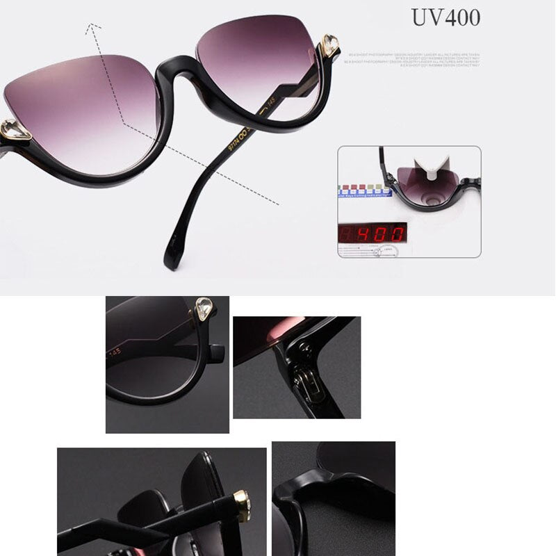 Reboto Women's Glasses Eyewear Half Frame Rhinestone Cat Eye Eyeglasses Frame Sexy Transparent Ay104