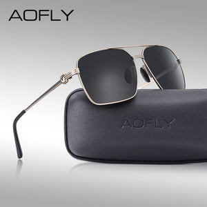 AOFLY Brand Design Classic Polarized Sunglasses Men's Driving Shades Gold Square Frame AF8196