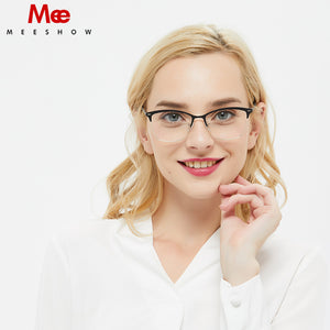 Meeshow Women's Eyeglasses Titanium Alloy Cat Eye Myopia Optical Spectacle Frame 5061