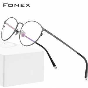 Fonex Women's Eyeglasses Pure Titanium Frame Round Optical Prescription 8501