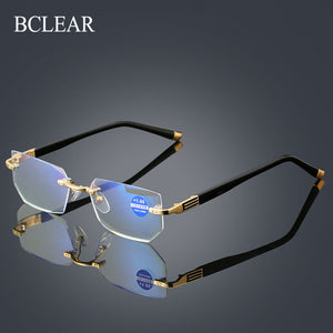 BCLEAR Rimless Reading Glasses Women Men Clear Lens Anti-Blu-Ray Computer Glasses Presbyopia 1.0 1.5 2.0 2.5 3.0