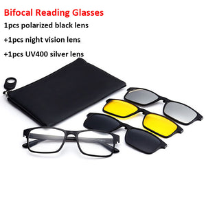 Bifocal Reading Glasses With Magnetic Clip-on Sunglasses Polarized 1.0 1.5 2.0 Spectacles Frames