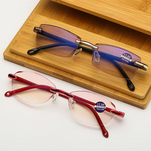 VIVIBEE Men Rimless Red Frame Thin Reading Glasses +3 +2 +1 Anti Blueray Old Prescription Glasses For Women V4001