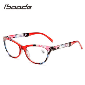Iboode Elegent Lady Reading Glasses Women Floral Cateye Prebyopic Eyeglasses Diopters +1 1.5 2 2.5 3.0 3.5 4