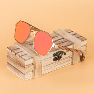 BOBO BIRD Women's Sunglasses Wood Polarized Stainless Steel UV400
