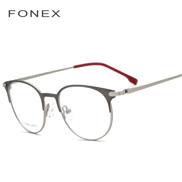 FONEX Unisex Eyeglasses Alloy Ultralight Vintage Round Prescription Retro 988