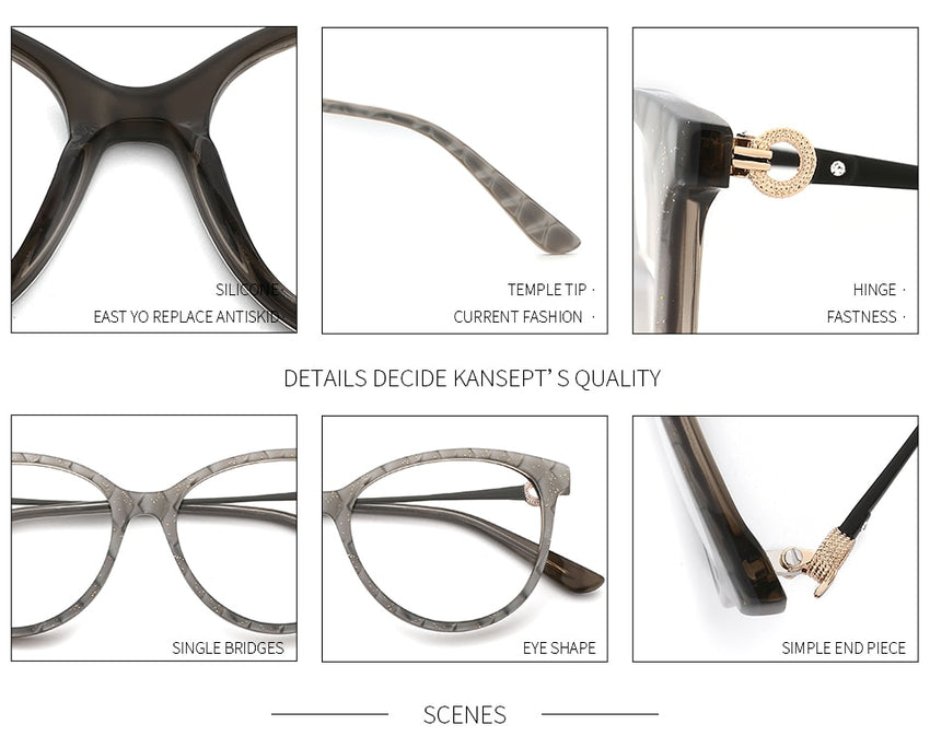 KANSEPT Women's Eyeglasses Acetate Round Glasses Frame Plaid Handmade 9014