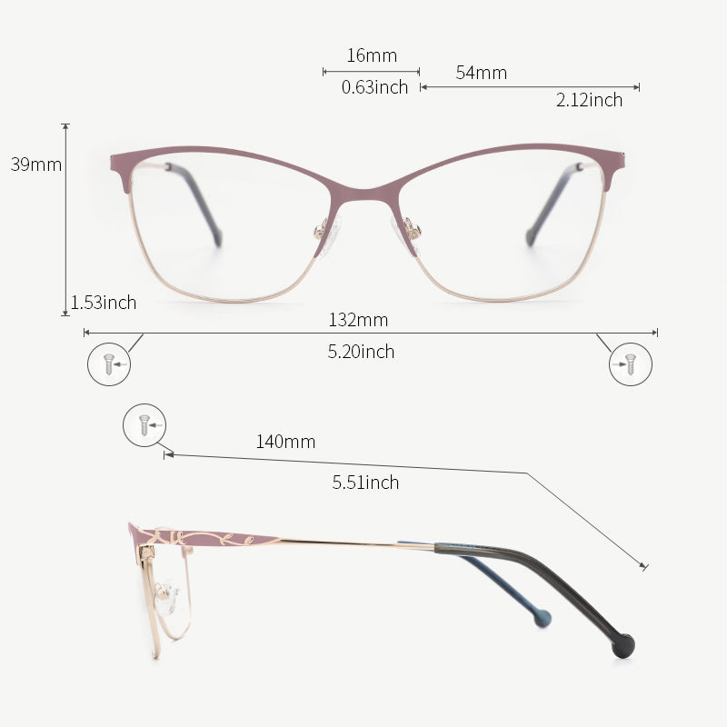 Metal Women Glasses Frames Optical Prescription Glasses Frame Pink Eyeglasses TF2198C5