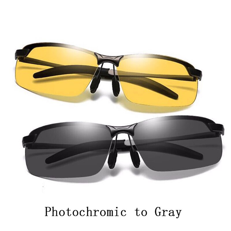Intelligent Photochromic Sunglasses Men Polarized Semirim Night Vision Day Night Yellow Lens L3