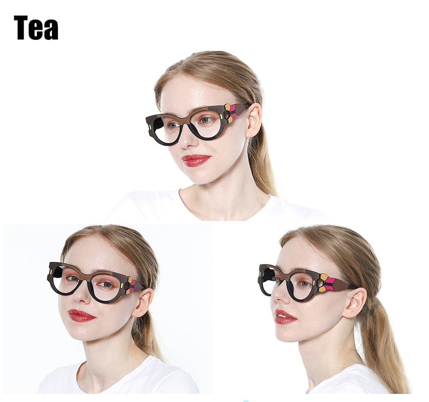 SOOLALA Anti Blue Light Reading Glasses Women Hyperopia Presbyopic Big Frame Wide Arms Cat Eye