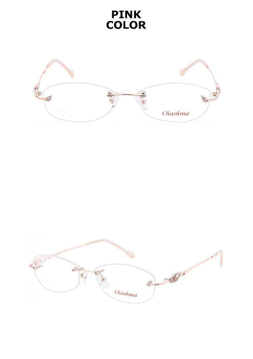 Chashma Brand Women's Eyeglasses Titanium Spectacle Rimless Ultra Light Myopia CH3089