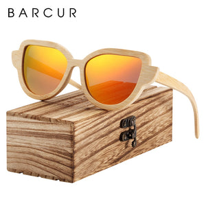 BARCUR Women's Sunglasses Cat Eye Bamboo Wood Anti-Reflective BC8104
