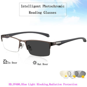Unisex Reading Glasses HD Intelligent Photochromic Magnifier Titanium Alloy TR90 Legs L3