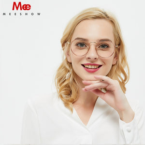 MEESHOW TR90 Women's Eyeglasses Oversize Titanium Alloy Prescription Glasses Round 9156