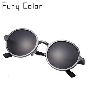 FURY COLOR Brand Unisex Sunglasses Black Metal Polarized Gothic Steampunk Small Round
