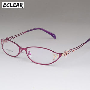 BCLEAR Women's Business Glasses Frames Hollow Carved Metal Full Frame Alloy Ultra-light Eyeglasses S8107