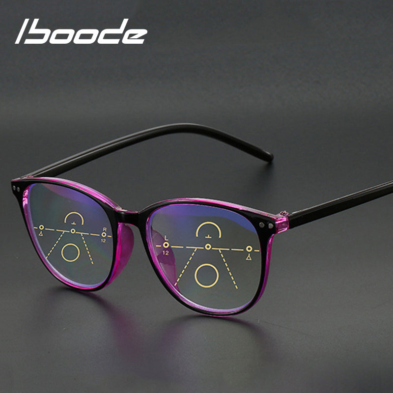 iboode Unisex Anti Blue Light Reading Glasses Progressive Multifocal Diopter +1.0 1.5 2.0 2.5 3