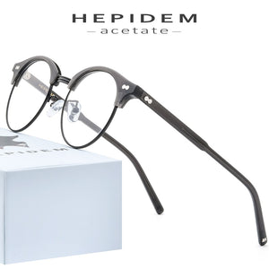 HEPIDEM Unisex Eyeglasses Acetate Optical Glasses Frame Round Prescription Spectacles Myopia 9123