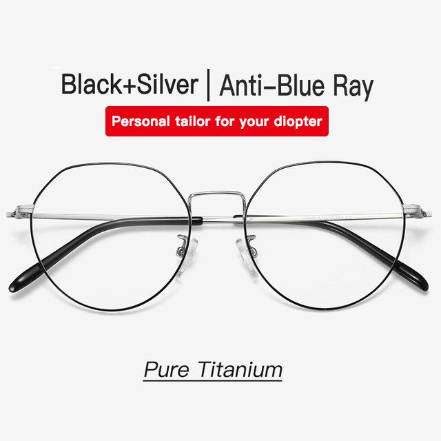 Aidien Brand Unisex Pure Titanium Frame Prescription Anti Blue Diopter Myopia