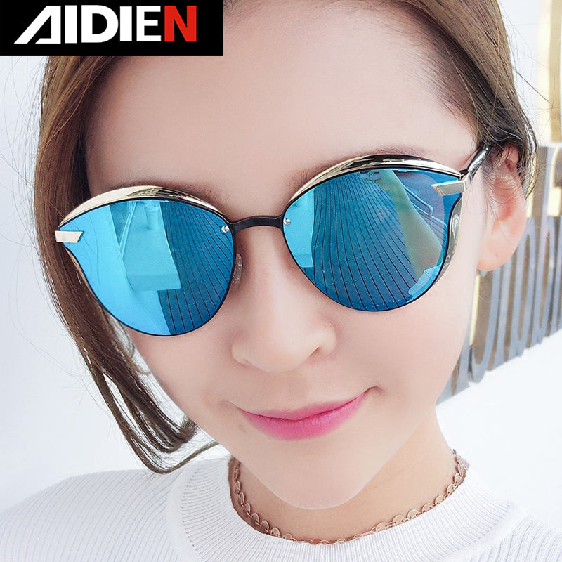 Women's Sunglasses Polarized Reflective Mirror Black Red Anti-glare Cat Eye B0824