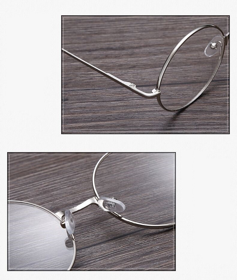 Lwc Round Glasses Retro Metal Frame Eyeglasses Korean Clear Lens Men Women Optical