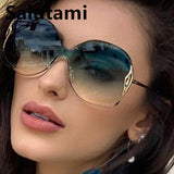 Women's Sunglasses Rimless One Piece Alloy Round Gradient Elegant Shades SH954