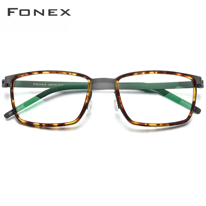 FONEX Men's Eyeglasses Acetate Alloy Glasses Frame Square Myopia Screwless 98629