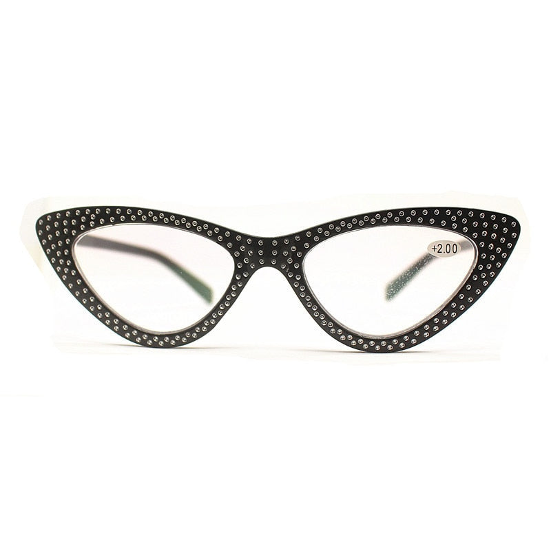 IBOODE Cat Eye Women's Reading Glasses Spectacles With Rhinestone YJ7656