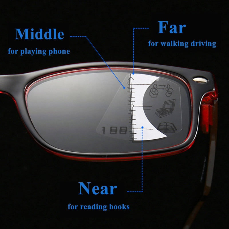 Unisex Reading Glasses Progressive Multifocal Bifocal Magnifying Presbyopic Anti Blue Light Square