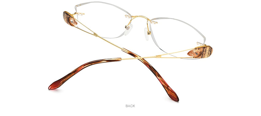 FONEX Women's Eyeglasses Wire Titanium Rimless Ultralight Luxury Diamond Trim 8511