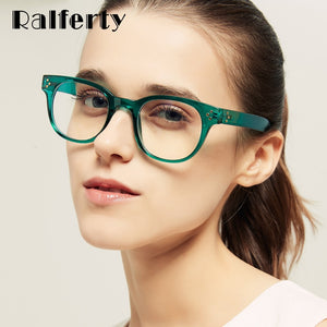 Ralferty Retro Blue Light Glasses Women's Eyeglasses Frame Computer Goggles No Diopter W5699