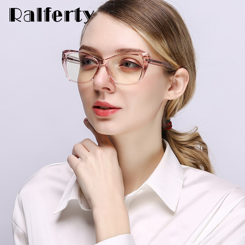 Ralferty Women's Eyeglasses TR90 Cat Eye Computer Blue Light With Spring Grade No Diopter