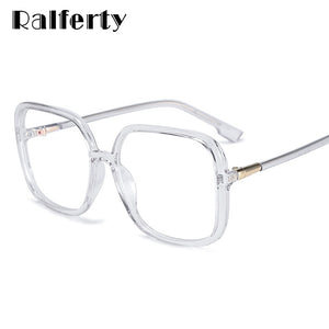 Ralferty Women's Eyeglasses Frame Oversized Big Square Clear Transparent No Diopter D8031