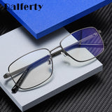 Ralferty Men's Eyeglasses Bussiness Metal Rectangle Computer Glasses Anti-Glare D2304