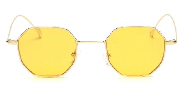 Peekaboo Brand Small Frame Polygon Vintage Unisex Tinted Sunglasses Uv400 Gradient Fb8018