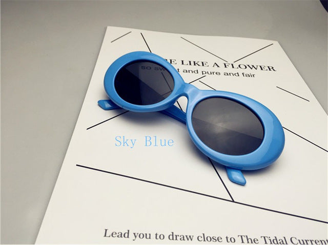 Long Keeper Men Retro Oval Nirvana Kurt Cobain Star Style Sunglasses Gradient Mirror Lenses Uv400