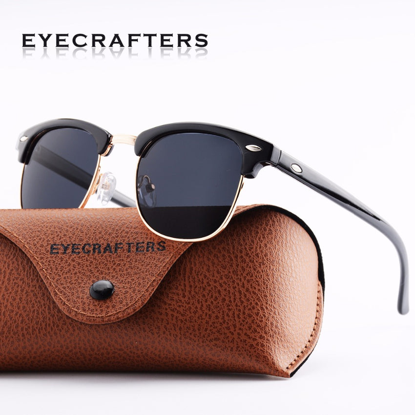 Blacked Out Polarized Classic Vintage Sunglasses Mens Womens Metal Half Frame