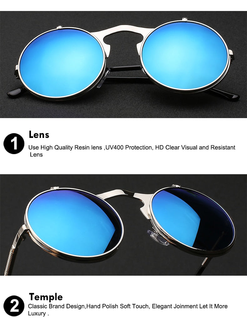 Xiu Brand Flip Up Steampunk Sunglasses Men Round Vintage Mens Oem