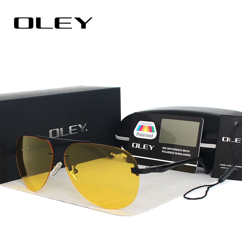 Oley Yellow Polarized Sunglasses Men Night Vision Glasses Brand Designer Women Spectacles Car Drivers Aviation Y143Y