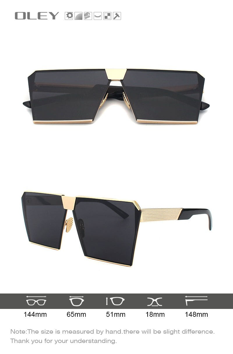Oley Brand Men'S Square Sunglasses Flat Coating Oversized Women Stylish Panel Lens Retro Y6917