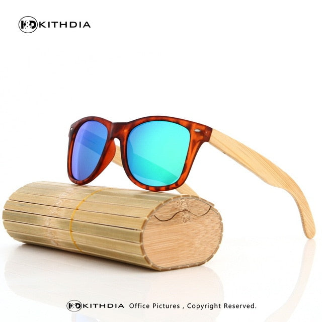 EZREAL Original Wooden Bamboo Sunglasses Men Women Mirrored UV400 Real Wood KD005