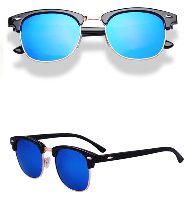 Green Designer Inspired Classic Half Frame Horned Semi-Rimless Mens Womens Fashion Sunglasses Polarized Retro Eyewear G15 3016