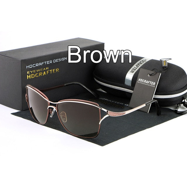 Hdcrafter Brand Women's Square Polarized Cat Eye Sunglasses Driving E020