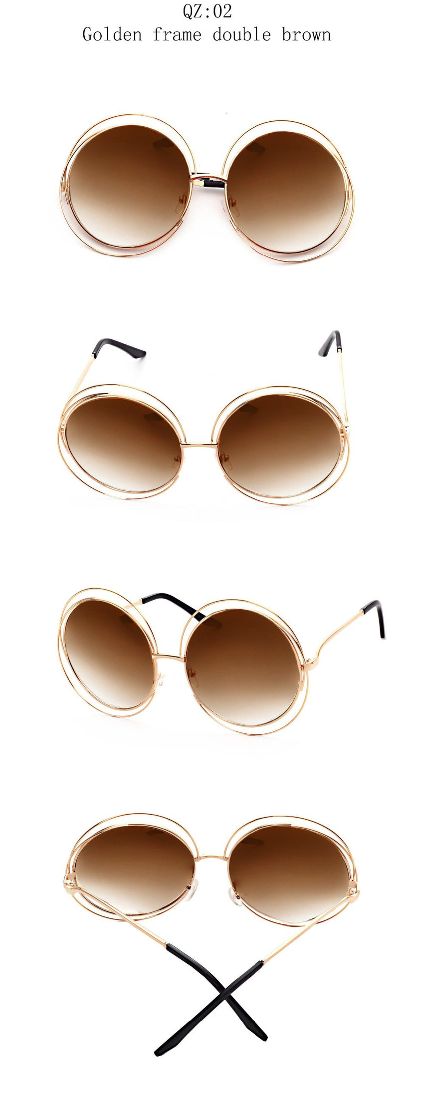 Curtain Brand Women'svintage Round Oversized Mirror Lens Sunglasses Uv400 Qz001
