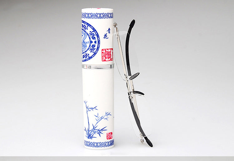 Magnetic Reading Glasses Diopter Glasses Presbyopic Eyeglasses With Blue-White Porcelain Case +1.0+1.5+2.0+2.5+3.0+3.5+4.0 Rs309